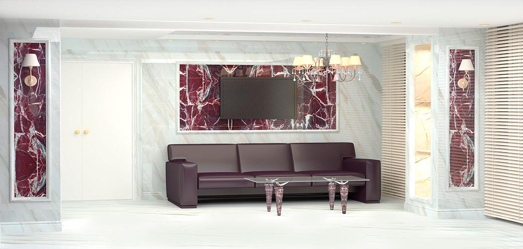 Панель под мрамор в офисе - Листовая панель под мрамор в Алматы от MaxStone