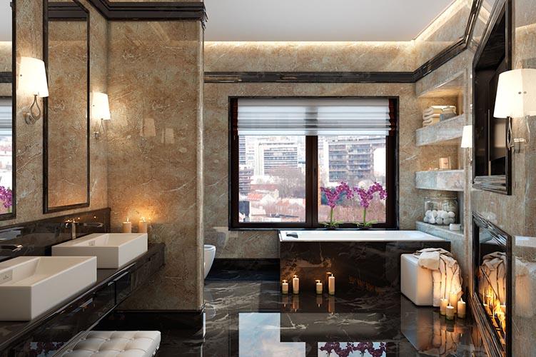 Ванная из панели под мрамор - Мраморная плита в Алматы от MaxStone