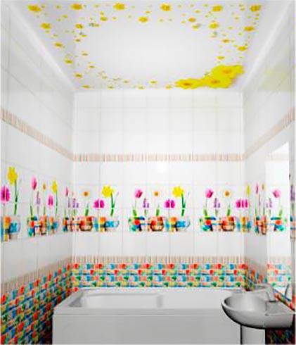 Герберы - Декоративный влагостойкий потолок от MaxStone в Алматы